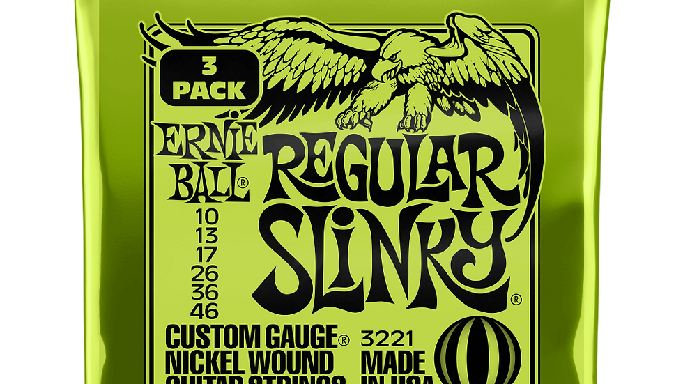 Ernie Ball Regular Slinky Electric Guitar Strings 10 - 46 3 Pack