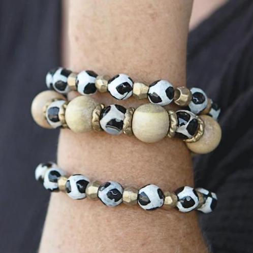 Safari Stretch Bracelet- Small Black and White