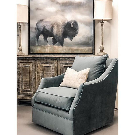 We love this gorgeous Rowe swivel chair!