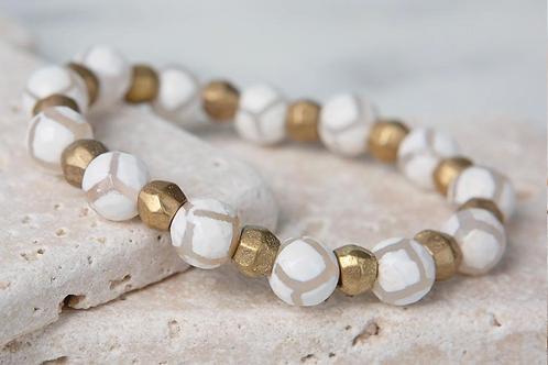 Safari Stretch Bracelet- White and Tan