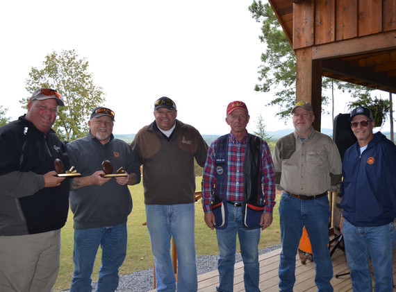 2018 Sporting Clays Classic Champions - Dean Martin, Johnny Bell, Charlie Lam, and Bob Martin with Emmbassadors Doug Vaila and David Hensley II