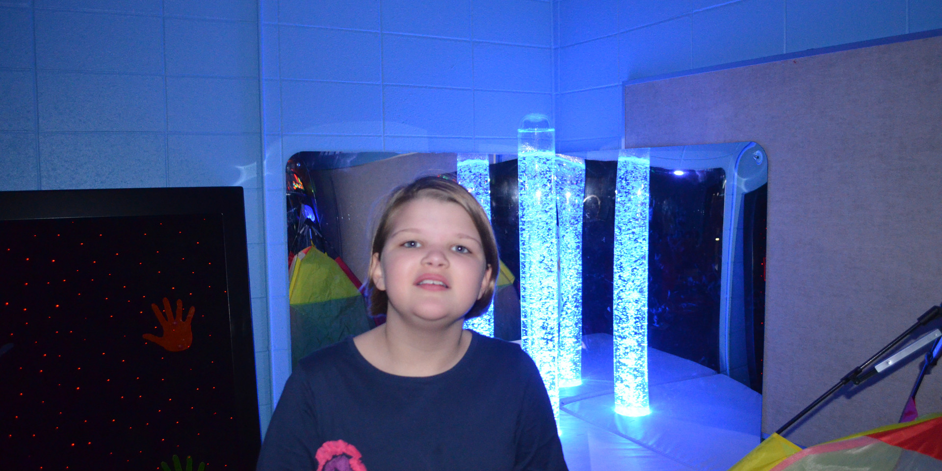 Emma loves the newly outfitted Sensory Room!