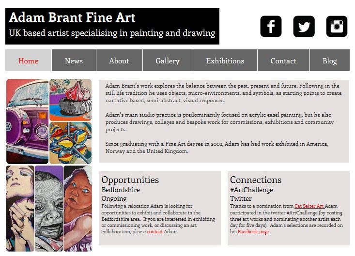 Image of newly designed Adam Brant Fine Art website homepage