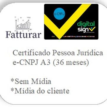 e-CNPJ A3 (36 meses) S/ Mídia