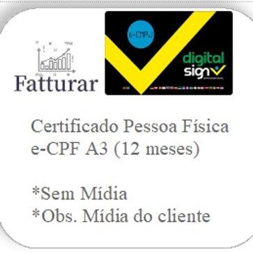 e-CPF A3 (12 meses) S/ Mídia