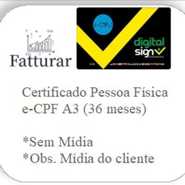 e-CPF A3 (36 meses) S/ Mídia