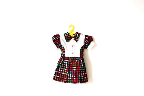 Vintage 1960's Spotty Collar Multicoloured Dress 2-3 Years