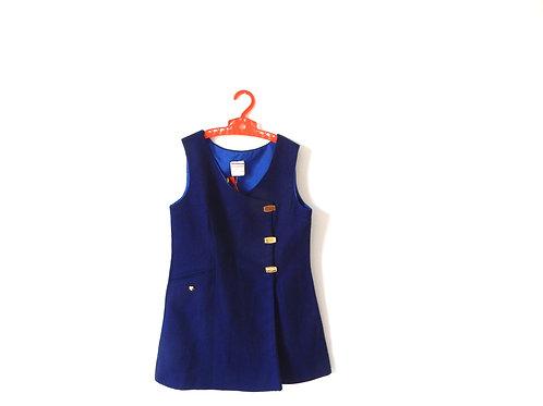 Vintage Blue Girls Mod 60's Pinafore Age 6