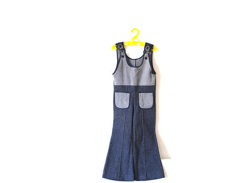 Vintage 1970's Retro Blue Dungarees 4-5 Years