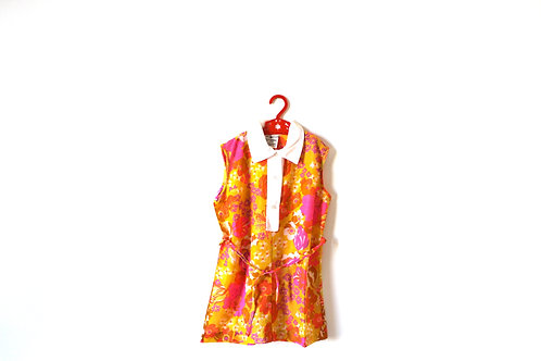 Vintage Floral Tropical 1970's Dress 5-6 Years