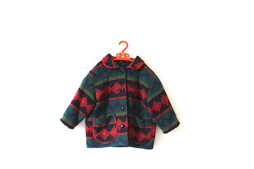 Vintage Aztec Multicoloured 70's Coat with Pockets 4-5 Years