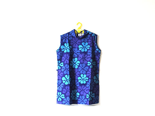 Vintage Blue Flower Patterned Dress 7-8 Years