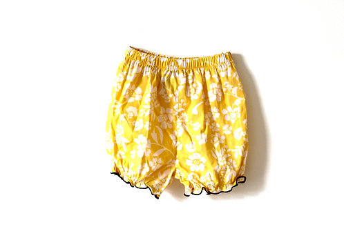Vintage Yellow Floral Bloomer Shorts 12 Months