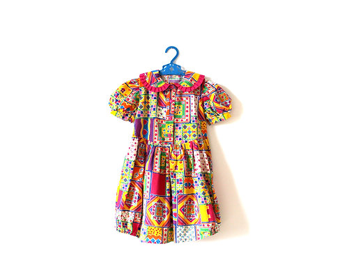 Vintage Multicoloured Patterned Dress 4-5 Years