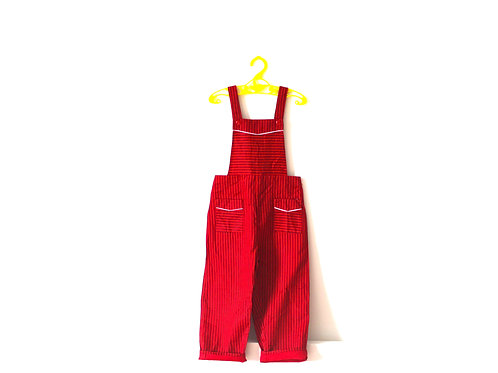 Vintage 'Bobby' 1960's Pinstripe Red Dungarees 3-4 Years