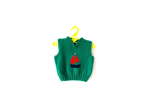 Vintage Green Knitted Boat Pullover 12 Months