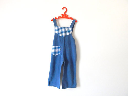 Vintage Blue Denim Gingham Dungarees 3-4 Years