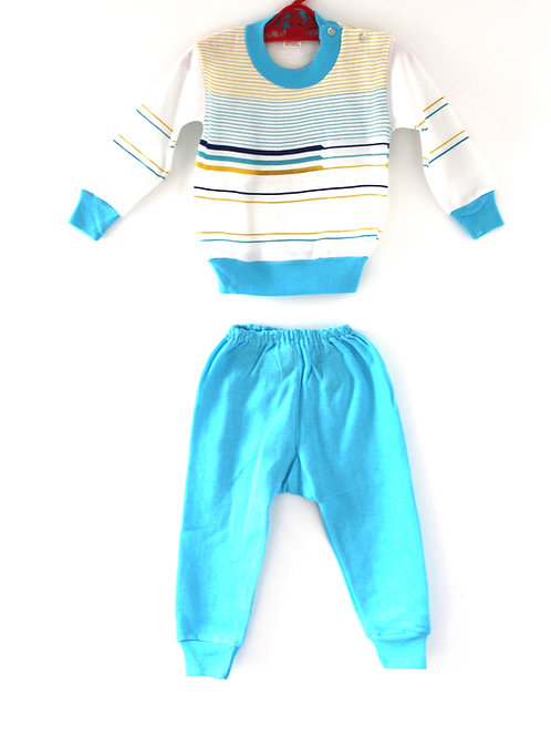 Vintage Childrens 1970's 3 Years Striped Casual Two Piece Outfit Yellow and Blue