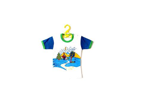 Vintage 1970's T-shirt Baby Toddler 12 Months Bright Groovy Design Girls Boys
