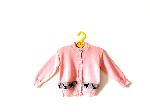 Vintage Pink Puppy Dog Cardigan 2-3 Years
