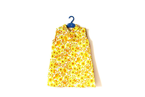 Vintage 1960's Girls Yellow Floral Dress 3-4 Years