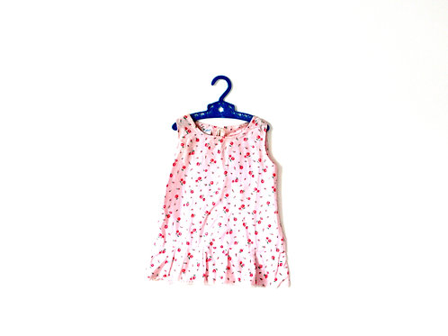 Vintage Pink Floral Flannel Dress 12 Months