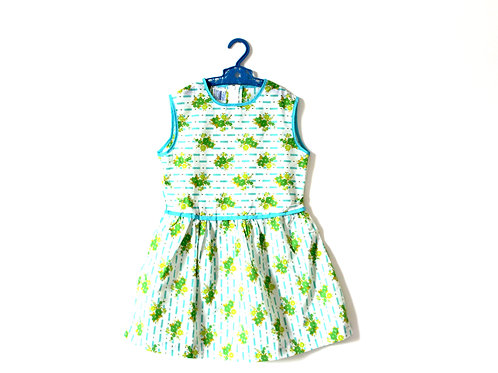 Vintage Pansy Green 1960's Floral Spring Summer Dress 5 Years