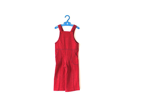 Vintage Red 1970's Cotton Dungarees 2-3 Years