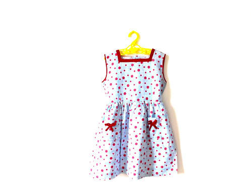 Vintage 1950's Spotty Blue and Red T Dress 4-5 Years