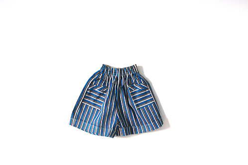 Vintage 1960's Blue Grey Striped Shorts Pockets 3-4 Years
