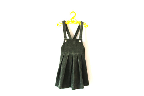 Vintage Green Needlecord 1960's Pinafore 3-4 Years