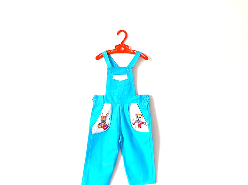 Vintage Blue Dungarees 1960's Rare Bunny 12-18 M