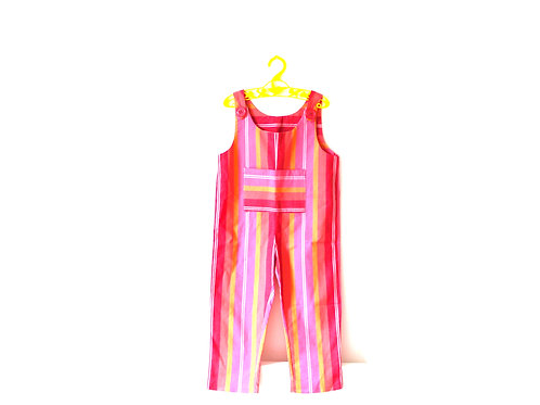 Vintage 1970's Pink Striped Dungarees 4-5 Yrs
