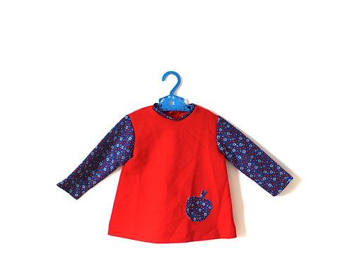 Vintage Girl Apple Red Floral 60's Dress 12 Months
