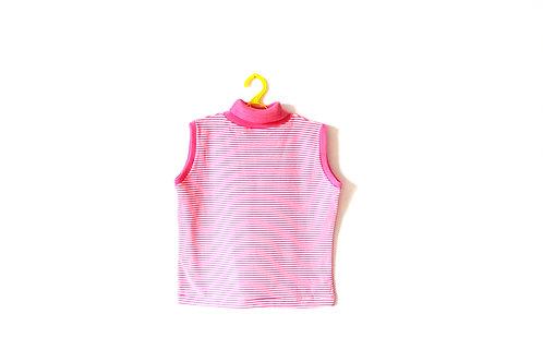 Vintage Pink 1970's Striped Turtle Neck Vest 4-5 Years