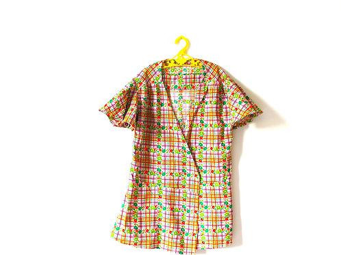 Vintage Checked French 1960s Floral Kimono Style Jacket