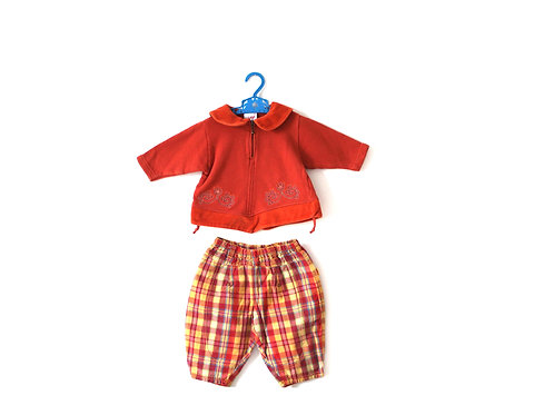 Vintage Orange Collar Checked Outfit 6-12 Months