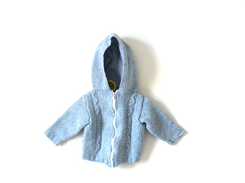 Vintage French Traditional Pale Blue 1970's Jumper with Bobble 12 Months