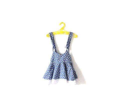Vintage Blue Heart Strap Top Summer 12 Months