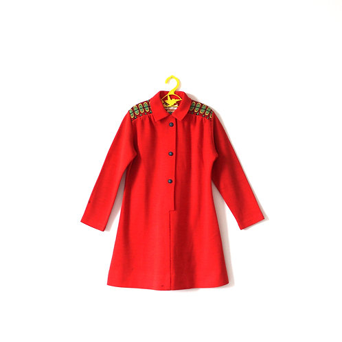 Vintage 1970's Red Mod Embroidery Dress 6 Years