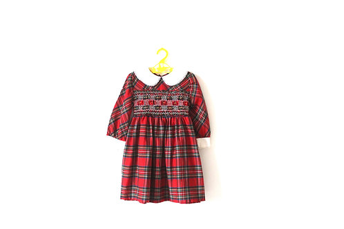 Vintage Checked Red Tartan Christmas Dress with Peterpan Collar and Lace 4 Years