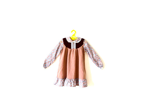 Vintage Brown Floral Dress 1970's Age 3