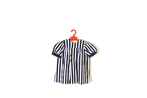 Vintage Navy and White Striped Spotty Dress 2 Years