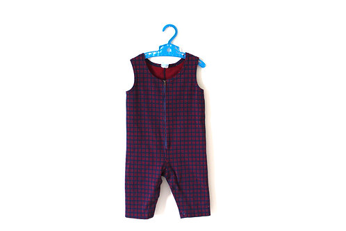 Vintage Checked Red/Blue 60's Dungarees 6-12 Month