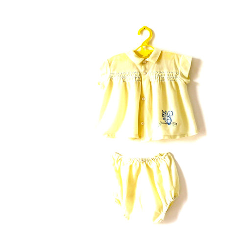 Vintage Soft Yellow 1950's Squirrel Two Piece Outfit 1-2 Years