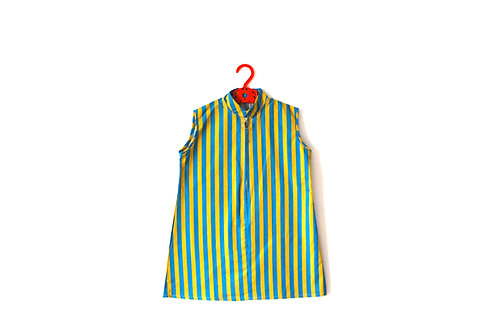 Vintage Striped 1960's Dress Mandarin Ring Collar 4-5 Years Mustard and Blue