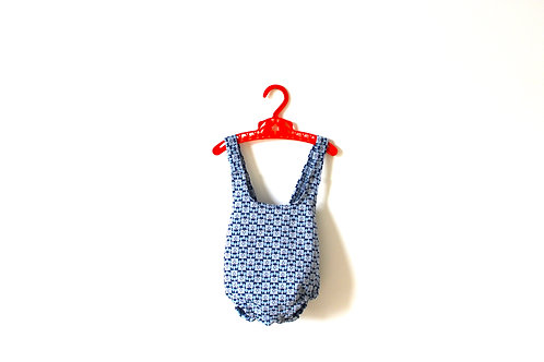 Vintage Blue Geometric Patterned Romper 9-12 Months