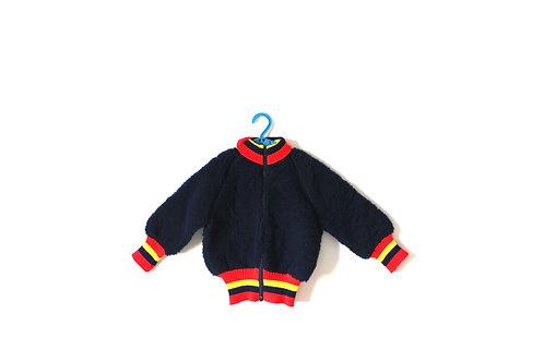 Vintage Poodle Fleece Jacket Stripes 1970's 2 Yrs