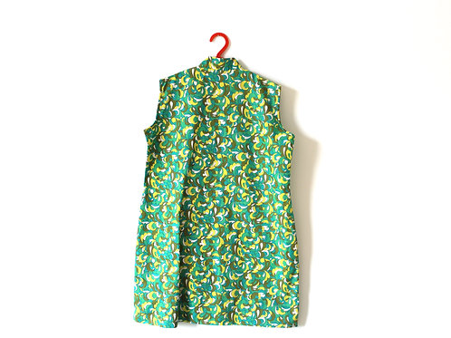 Vintage Green 1960's Swirl Pattern Dress 7-8 Years