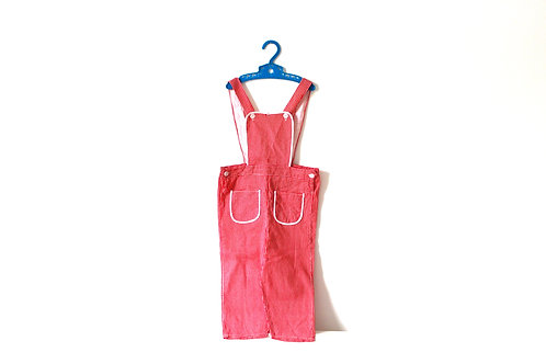 Vintage Red 1960's Gingham Dungarees 12 Months